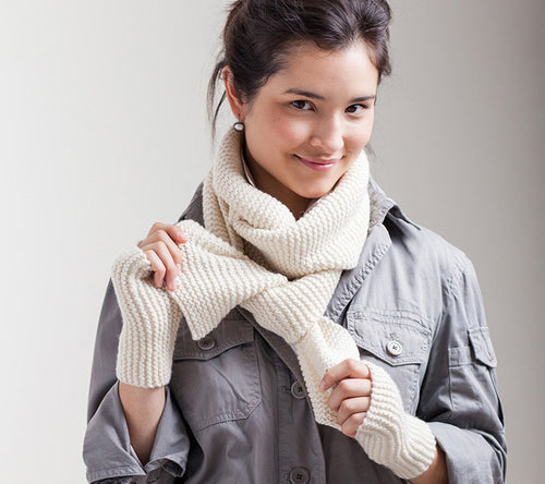 A model wearing Garter Stitch Scarf & Handwarmers