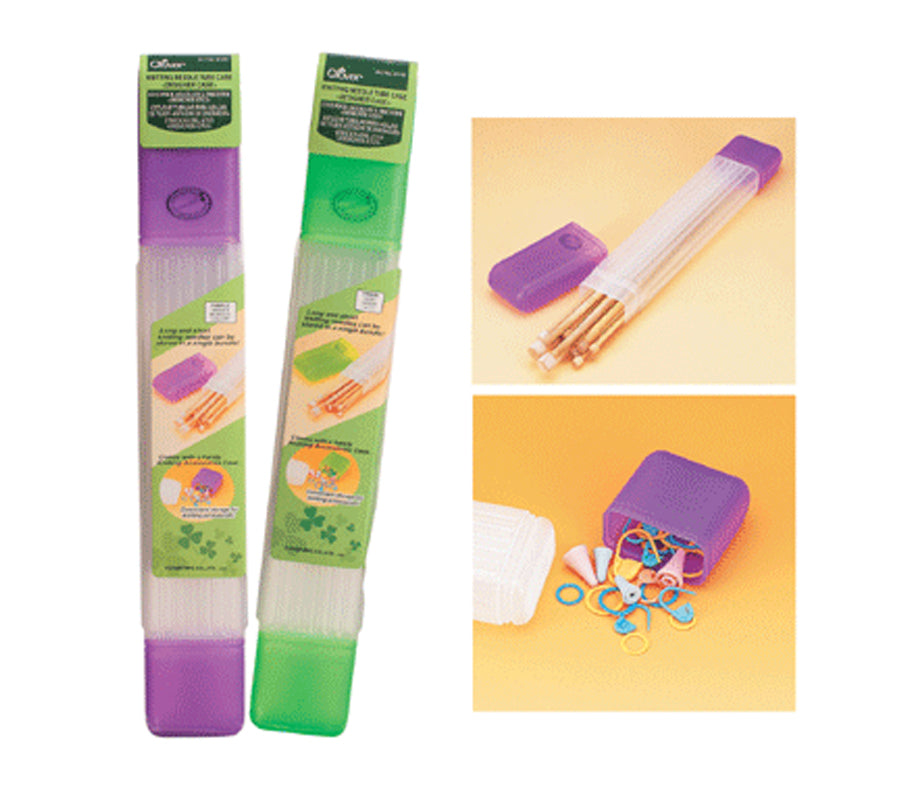 Two Clover Knitting Needle Tube cases, one in purple the other in green as well as close ups of the cases with needles and stitch markers stored
