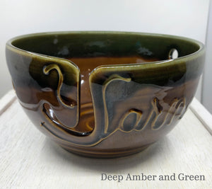 Yarn bowl in Deep Amber and Green