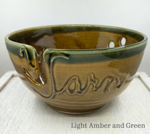 Load image into Gallery viewer, Yarn bowl in Light Amber and Green