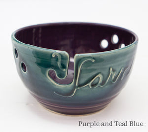 Yarn bowl in Purple and Teal Blue