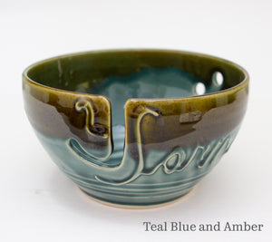 Yarn bowl in Teal Blue and Amber