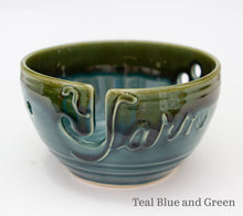 Load image into Gallery viewer, Yarn bowl in teal Blue and Green