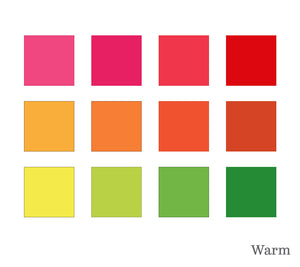 Colour chips of warm tones