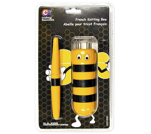 A package containing a Crafting Essentials French Knitting Bee in yellow and black