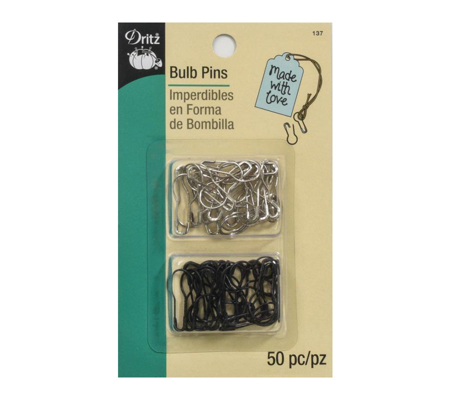 A package of Dritz Bulb Pins in silver colour and black colour