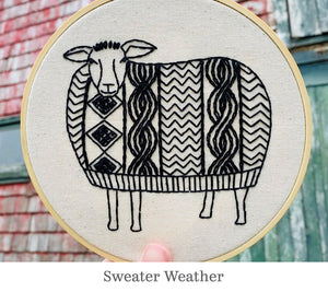 Hook Line & Tinker embroidery kits: Sweater Weather