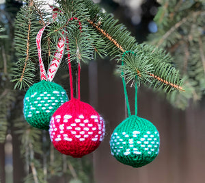 Christmas ornament balls made with River City Yarns Epic Yarn
