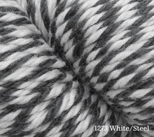 Load image into Gallery viewer, A close up of Estelle Worsted in 1273 White/Steel