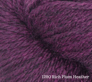A close up of Estelle Worsted in 1290 Rich Plum Heather