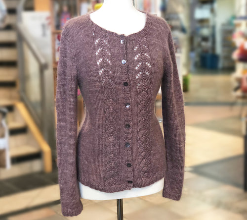 A sample Cardigan of Fleece Artist Queen's County Kits