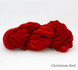 Fleece Artist Slubby Blue in Christmas Red