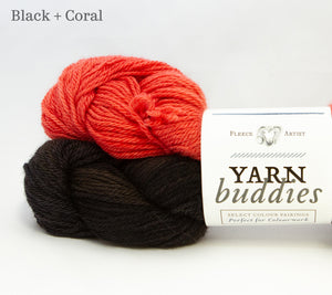 Fleece Artist Lil'Sport Yarn Buddies in Black and Coral