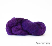 Load image into Gallery viewer, A skein of Hand Maiden Superkid Silk in Amaranthine