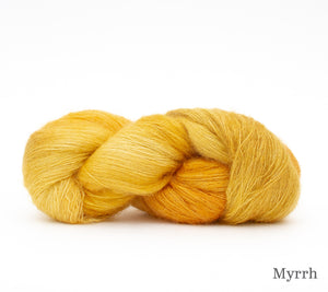 A skein of Hand Maiden Superkid Silk in Myrrh
