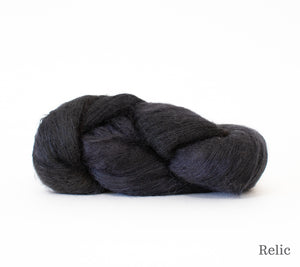 A skein of Hand Maiden Superkid Silk in Relic
