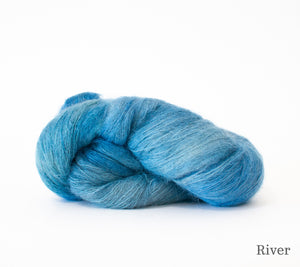 A skein of Hand Maiden Superkid Silk in River