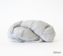 Load image into Gallery viewer, A skein of Hand Maiden Superkid Silk in Silver