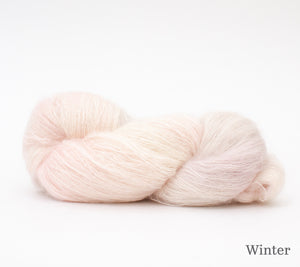 A skein of Hand Maiden Superkid Silk in Winter