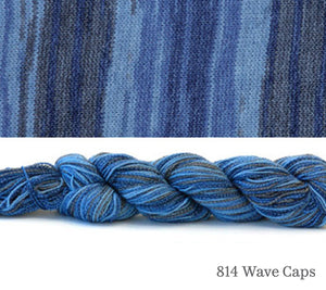 A skein and a knitted swatch of Hikoo CoBaSi Multi in 814 Wave Caps