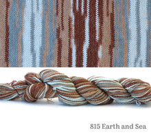 Load image into Gallery viewer, A skein and a knitted swatch of Hikoo CoBaSi Multi in 815 Earth and Sea