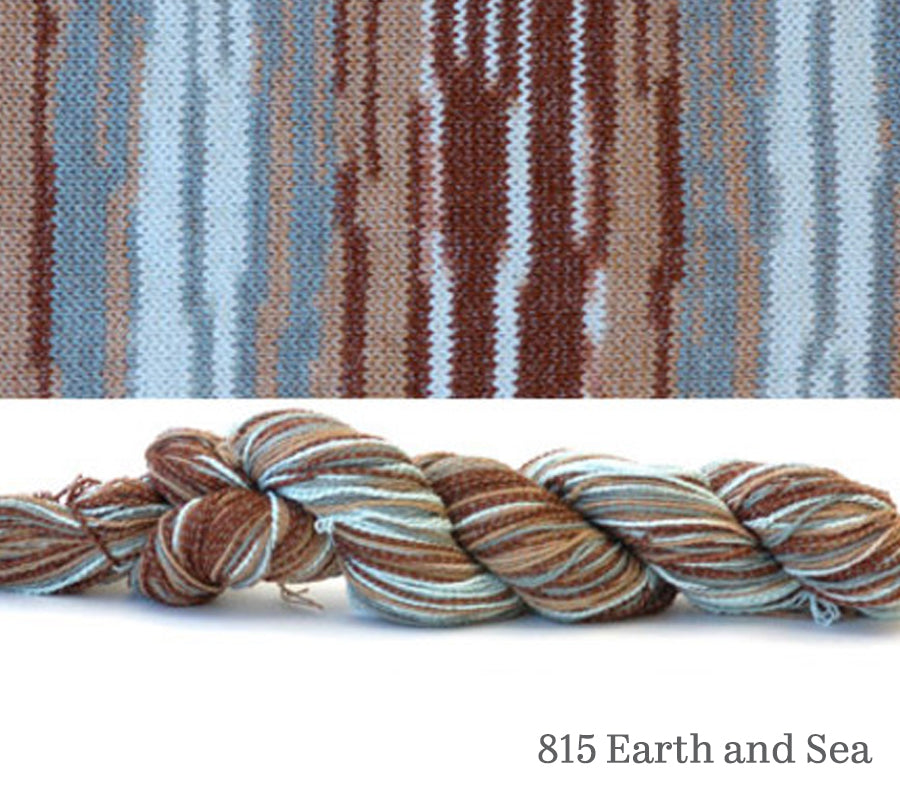 A skein and a knitted swatch of Hikoo CoBaSi Multi in 815 Earth and Sea