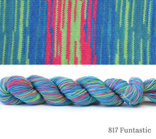 Load image into Gallery viewer, A skein and a knitted swatch of Hikoo CoBaSi Multi in 817 Funtastic