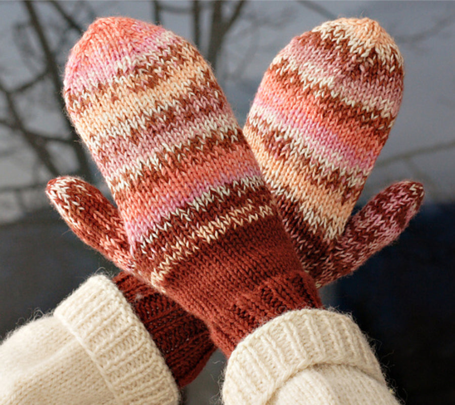 Annie's Mittens in pink and red stripes