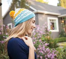 Load image into Gallery viewer, Woman wearing Quadra Hat in white, blue and yellow