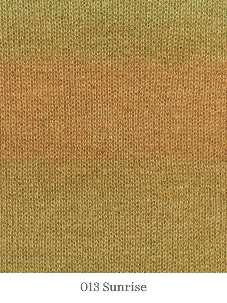 A close up of Lang Mohair Luxe Color in 013 Sunrise