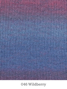 A close up of Lang Mohair Luxe Color in 046 Wildberry