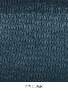 A close up of Lang Mohair Luxe Color in 070 Indigo