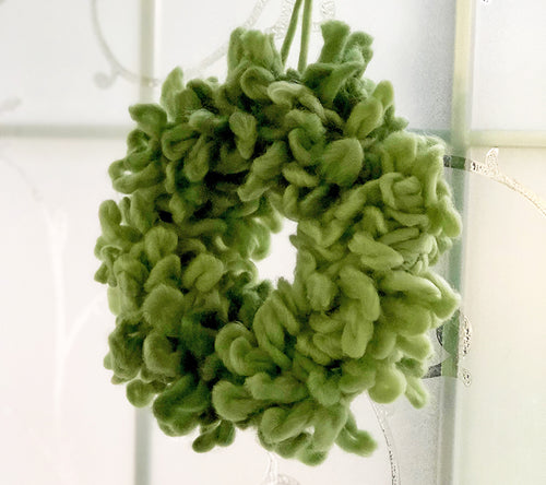 Mini Wreath Kit made with an embroidery hoop and a special loopy yarn