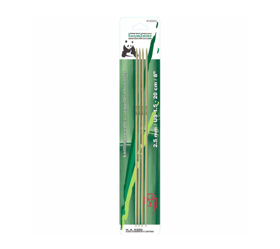 A package of four Panda Bamboo Double Pointed Needles 2.5mm
