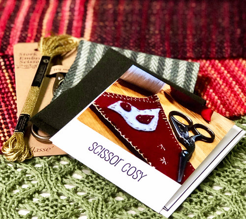 Felted scissor cozy kit with embroidered and embellished dove