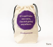 Load image into Gallery viewer, RCY Canvas Drawstring Project Bag with yarn