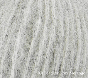 A close up of Rowan Alpaca Classic in 101 Feather Grey Melange