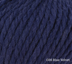 A close up of Rowan Big Wool in 026 Blue Velvet