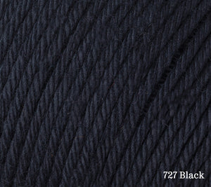 A close up of Rowan Cotton Glace in 727 Black