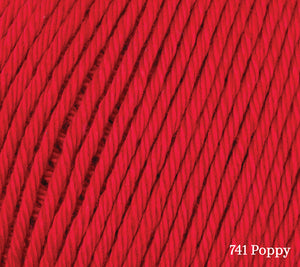 A close up of Rowan Cotton Glace in 741 Poppy