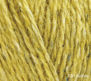 A close up of Rowan Felted Tweed in 220 Sulfur