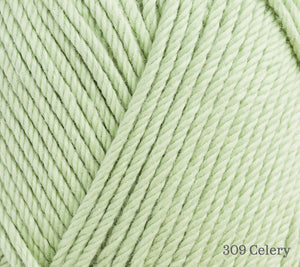 A close up of Rowan Handknit Cotton in 309 Celery
