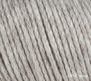 A close up of Rowan Soft Yak DK in 230 Cream