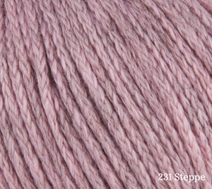 A close up of Rowan Soft Yak DK in 231 Steppe