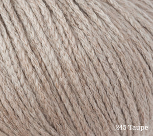 A close up of Rowan Soft Yak DK in 245 Taupe