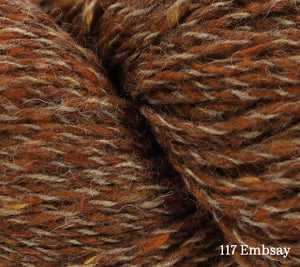 A close up of Rowan Valley Tweed in 117 Embsay