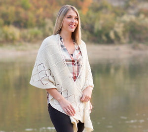 A model wearing Stargazer Shawl