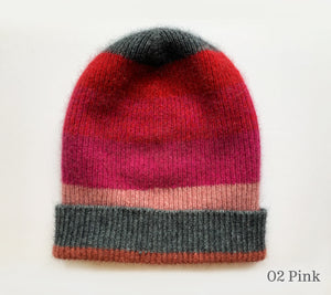 A Striped Possum and Merino Hat in 02 Pink