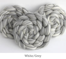 Load image into Gallery viewer, The Fibre Imp Merino Roving Braid in White/Grey
