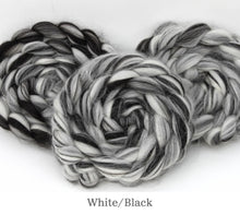 Load image into Gallery viewer, The Fibre Imp Baby Alpaca Roving Braid in White/Black